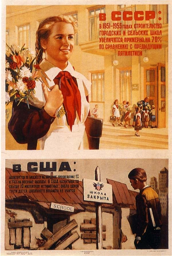 In USSR: in 1951-55s building of schools in towns and villages will be increased by 70% comparing to the previous 5-year period. In USA: 1% of budget is assigned to education and 74% for military expenses. In USA there are over 10 billion of illiterate people; about one third of all children do not go to school.