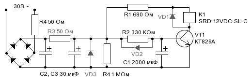 Relay based turn on delay schematic